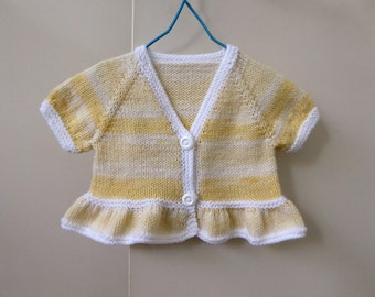 Short sleeved yellow bolero cardigan | baby girl handknit 6 months | girl's knitted shrug