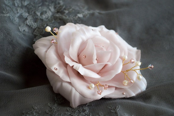 Blush Pink Flower Hair Clip - Bridal Hair Accessories- Bridal Hairpiece - Wedding Hair Flowers - Vintage Style Wedding Hair Clips -Silk Rose