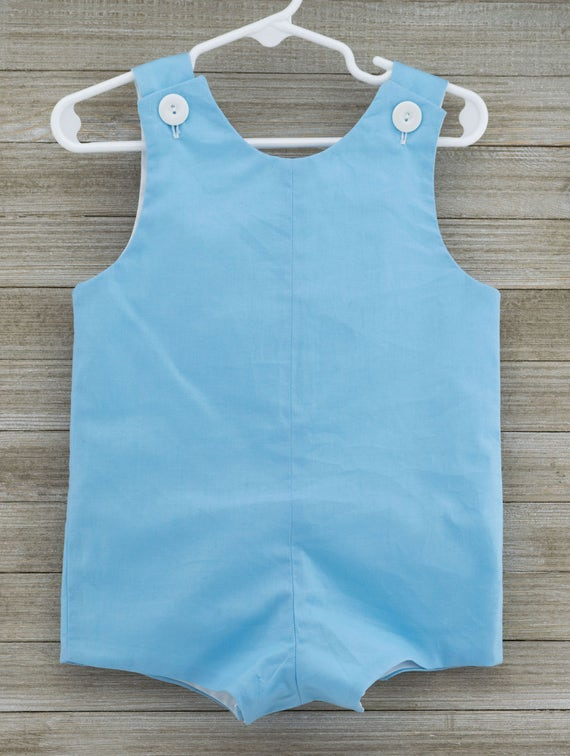 Custom made Boy Blue solid Jon Jon/ Romper. This outfit is perfect for beach photos, Easter or just summer/spring fun!