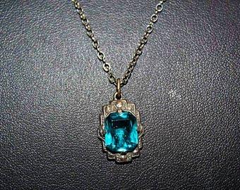 Antique Art Deco Topaz Blue Sterling Silver Exquisite Czech Glass Faceted Necklace NC7