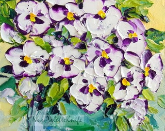 Pansy Small Impasto Oil Painting Still Life White Purple Flower Floral Art Textured Palette Knife Canvas Panel Her, Mother, Birthday Gift