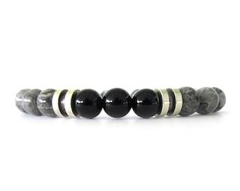 Gray Jasper Men's Bracelet - Men's Bead Bracelet - Men's Jewelry - Gray Bracelet - Stretch Bracelet -  Bracelets for Men - M2830