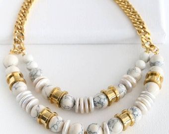Greek Muse Necklace - Marble