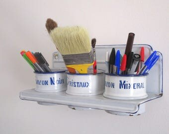 Vintage French Enamel Laundry Soap Rack - Soap Shelf - Herb Rack - Bathroom Kitchen Decor - Vintage Enamelware