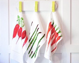 Original art kitchen towel set, garden watercolor prints, Simple kitchen garden linens, tea towel, country kitchen decor, housewarming gift