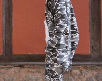 NEW Lined Asymmetric Extravagant Grey Camo Hooded Coat /Extra Large Cotton Jacket / Thumb Holes / Outside and Inside pockets A07545
