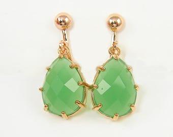 Green Clip Dangle Earrings, Teardrop Clip Earrings, Rose Gold Clip Earrings |EB2-15