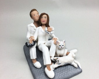Bride and Groom in Pajamas playing Xbox with Pets Cake Topper