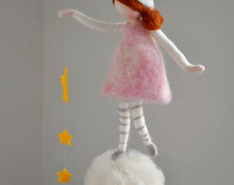 Wool doll /Nursery Mobile  / Wall Hanging Waldorf inspired  : Girl with stars and crystal drop