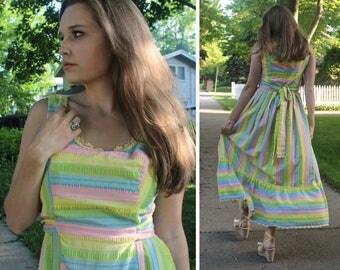 "SEERSUCKER Maxi Sun Dress 70s Vintage ""Lanzillotti for Bzzz-Bzzz"" Woman Striped PASTELS Print Smock SUNDRESS Spring Summer ruffled hem Frock"