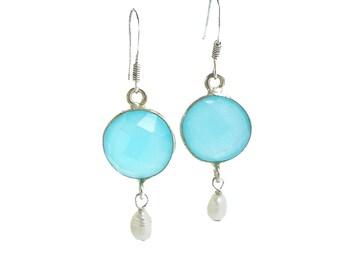 Chalcedony Earrings Silver - Aqua Chalcedony Earrings with Pearl - Gemstone Drop Earrings - Dangle Earrings Aqua Chalcedony with Pearl