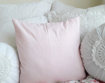 Pink cotton pillow cover, pink cushion, pink pillow, cover only, 20 inch cover, pink, rose, blush, euro sham, toss pillow, cottage chic