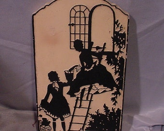 """Charming 1930s-40s Plaster Chalk Wall Plaque Pictur """"The Elopement"""""""