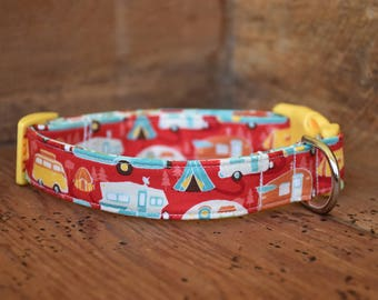 Camping Dog Collar - Red Camper or RV Print - Retro Travel Trailer