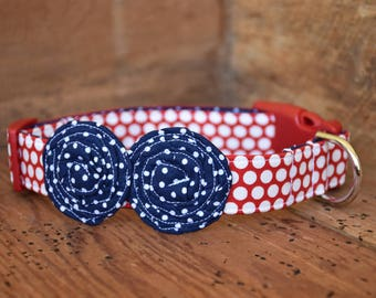 Patriotic Dog Collar - Red/White Polka Dot with Navy/White Pin Dot Flowers