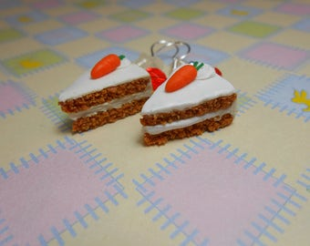 Carrot Cake Slice Earrings, Fimo, Polymer Clay