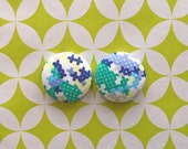 Fabric Covered Button Earrings / Wholesale Jewelry / Cross Stitch / Stud Earrings / Gifts for Her / Handmade in NYC