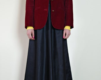 20 west vintage corduroy jacket with leather buttons | made in japan | maroon | 1970s coat