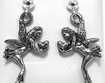 Pewter Fairy with Heart Charms on Sterling Silver Ball Post Stud Earrings - 5405