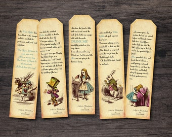 Printable Alice in Wonderland Bookmark Instant digital download 1st Serie