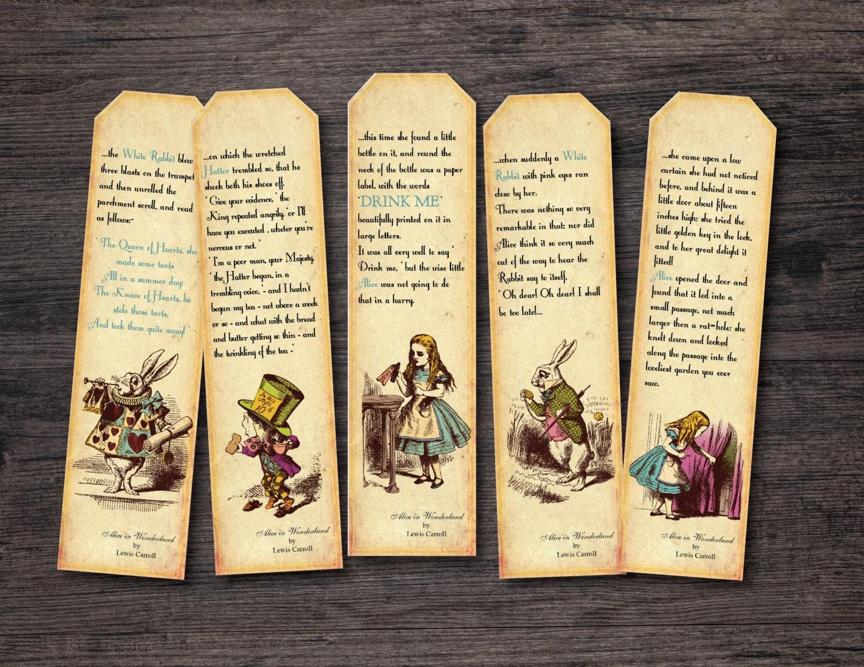 Printable Alice in Wonderland Bookmark Instant digital
