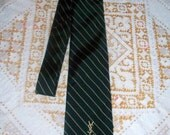Vintage Yves Saint Laurent Men's Tie - Green Stripe - Regular Width - 100% Silk - Paris New York