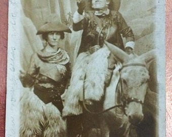 Circa 1910 Real Photographic Postcard 2 Women Dressed as Cowboys with Guns