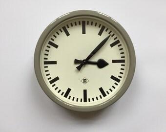 """11.6"""" Diameter Vintage German Industrial wall clock from TN. 1960s. Gray Metal Rim. Made in Germany. 2017-007"""