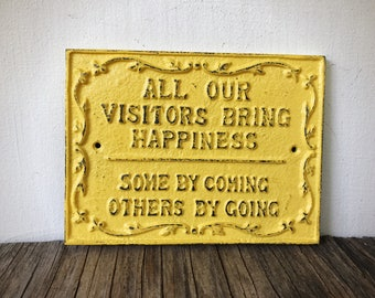 Rustic Guest Room Sign / Yellow Welcome Sign / Funny Farmhouse Entryway Sign / Rustic Housewarming Gift For Her Home / Gifts Under 20