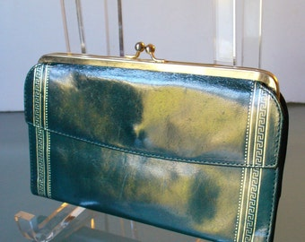 Forest Green Glazed Calfskin Wallet Made in Italy