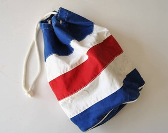 Vintage Mrs Norman AIbury Sailmaker Bahamas Canvas Ditty Bag Blue White Red