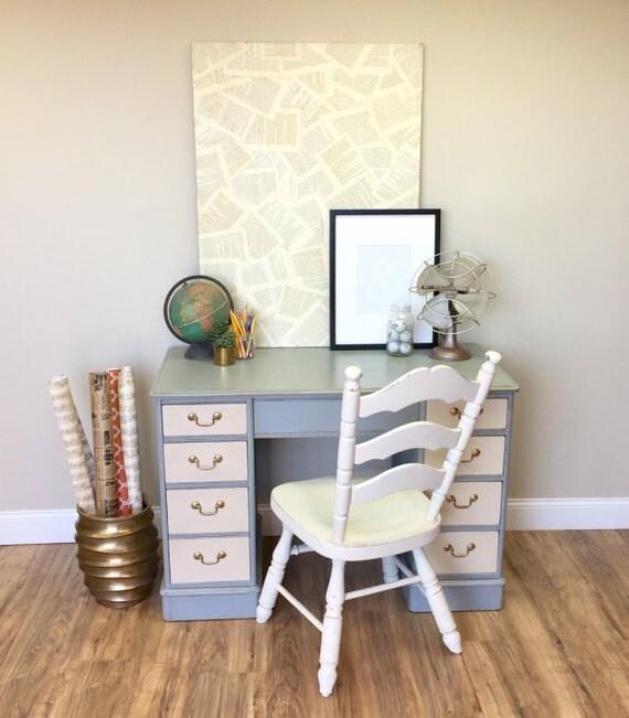 Vintage Wood Desk - Office Desk Furniture - Desk for Home Office - Small Writing Desk - Distressed Desk - Painted Furniture