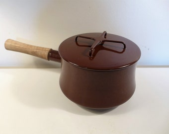 Brown Dansk Kobenstyle Sauce Pan Brown Enamel Teak Handle Mid Century Modern Design Vintage Made in France 70s French Cookware IHQ