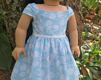 "Doll Ella Dress in Baby Blue Cotton American Made for Your 18"" Girl Doll"