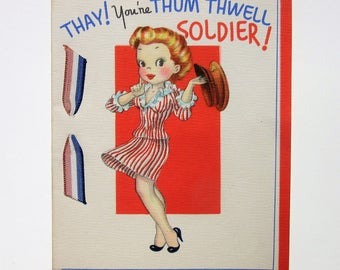 Vintage Unused Military Happy Birthday Greeting Card with Woman Holding a Soldier Hat and Sweet Message for Her Armed Forces Hero Patriotic