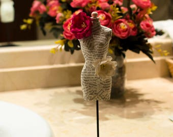 Miniature Paper Mannequin with Big Paper Flowers - Paper Sculpture - Paper Art - Miniature Art