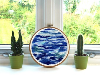 "Sea // Original Artwork // Hand Embroidery // 7"" Hoop // Illustration"