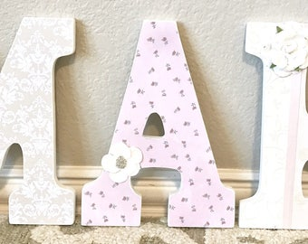 Nursery letters, pink and gold nursery decor, nursery wall letters, wooden letters, personalized baby gift, The Rugged Pearl