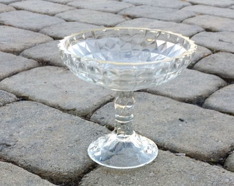 Vintage Cut Glass Pedestal Candy Dish