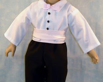 18 Inch Doll Clothes - Pink Satin Cummerbund, Shirt, Pants Outfit made by Jane Ellen for boy 18 inch dolls