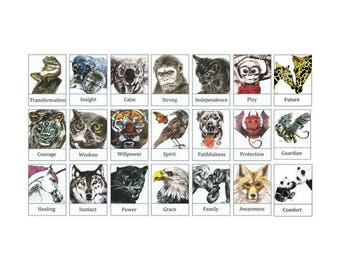 Totem Animal Tarot Cards, Oracle Cards, Spirit Animal Art, Spiritual Message Cards, Unique Handmade Cards, totem tarot deck, totem animals