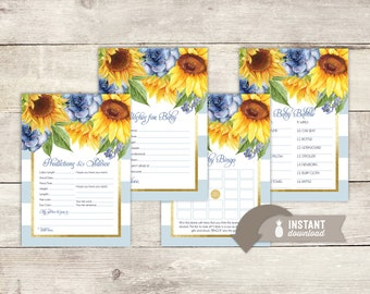 Sunflower Stripe Baby Shower Game Pack - 5 Instant Download Games