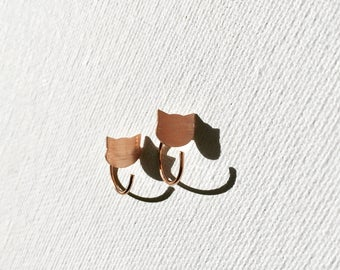 Tiny Cat Hoop Earrings - Cat Lover Gift - Silver Cat Earrings - Gold Cat Earrings - Rose Gold Cat Earrings - Cat Jewelry