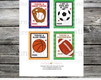 Sports Valentine Cards, Instant Download, Printable Valentine Card, Soccer, Baseball, Football, Basketball, Kids Valentines Day Cards