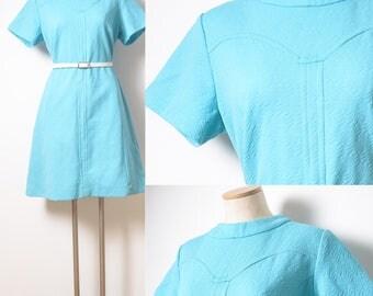 60s Dress, Vintage Turquoise Dress, Mad Men Dress, 60s Turquoise dress, Vintage blue dress, 60s Blue dress,60s Shift Dress,Knit Dress - L/XL