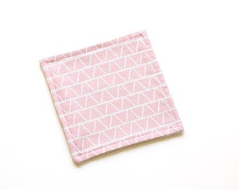 SALE || Reusable Cloth || 18cm x 18cm || Triangles Pink || Fleece Backing