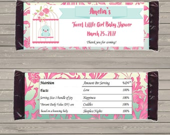 Customizable Printable Tweet Little Girl Candy Bar Wrapper for 1.5 oz Hershey Bars mms005