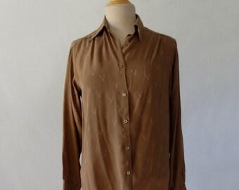 Valentino - Vintage Designer - 1970s Blouse - Valentino Silk V Blouse - Brown - Bust 91-94 cm