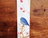 Blue Bird and Garden Flowers Watercolor Bookmark,  Bird art, Bird Bookmark, Watercolor Bookmark, Beautiful Bookmark, Book lovers, Gift