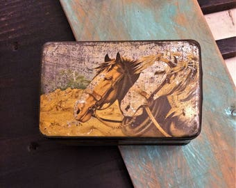 Shabby Antique Horses Tin, Two Horses, LID WORN, Work Horse, Equine, Farm Farming, Vintage Tin Box, Primitive Farmhouse Decor